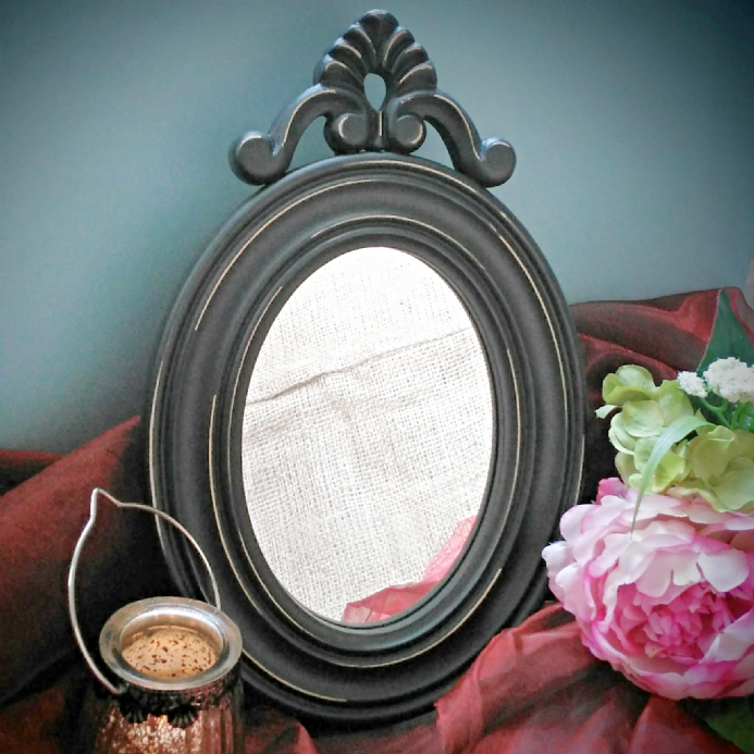 Over 30% OFF Antique Black Scroll Top Mirror